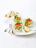 Bass ceviche with avocado Féroce and crushed tomatoes