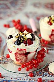 Mascarpone cream with red berry and meringue in a glass
