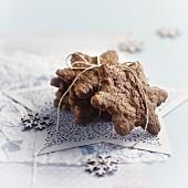 Cinnamon, chocolate and orange star biscuits