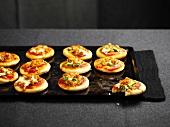 Mini shrimp and zuccini strip pizzas
