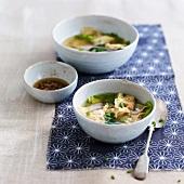 Shrimp ravioli soup
