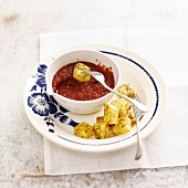 Diced herby polenta with homemade ketchup