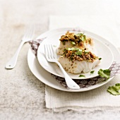 Cod with crumbled bacon crust