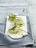 Thinly sliced black radish and apple and goat's cheese Mille-feuille
