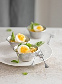 Hard-boiled eggs on a bed of spaghettis
