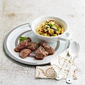 Lamb noisette fillets with mushroom polenta