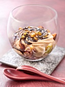 Stewd figs with coffee mousse and coffe syrup