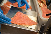 Preparing Irish salmon :packing the portions of sliced salmon