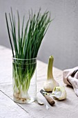 Spring onions in a glass of water and peeling a fresh garlic clove