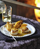 Roasted scallops and braised chicory with orange