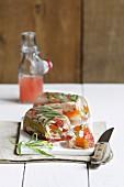 Rabbit stew and grapefruit terrine