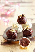 White and dark chocolate truffles