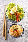 Indonesian-style raw vegetables and green papaya salad