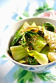 Pak-choi sauteed with sesame seed oil