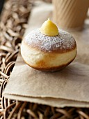 Donut with vanilla-flavored cream filling