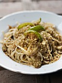 Fettuccine with flaked tuna and lemon-flavored breadcrumbs