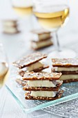 Peppery and sesame seed crunchy camembert sandwiches