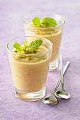 Melon,honey and pistachio cream desserts
