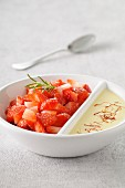 Diced strawberries with light saffron cream