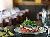 Mackerels with seasoned tomato tartare