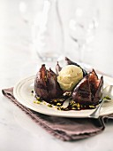 Figs roasted with chocolate, pistachios and vanilla ice cream