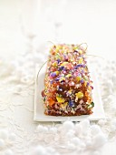 Crushed Berlingot candy Christmas log cake