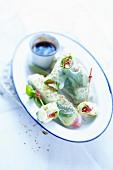 Italian spring rolls with basil