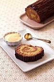 Chocolate-pistachio Christmas log cake
