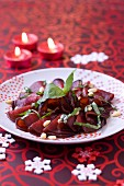 Beetroot Carpaccio with basil and pine nuts