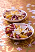 Smoked duck magret carpaccio with orange and parmesan