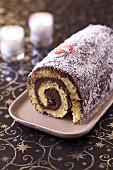Choco-coconut rolled log cake