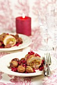 Turkey breasts rolled with chestnuts and pomegranates