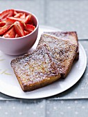 French toast with strawberry fruit salad with lemon zests