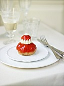 Religieuse (French choux pastry) with tomato