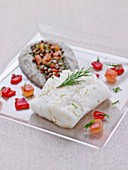 Steamed cod fillet,creamed whole green lentils,Piquillos virgin sauce