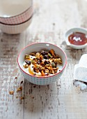 Petit-suisse with granola and chocolate