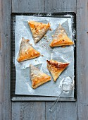 Small pear and chestnut cream filo pastry triangles