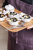 Individual blueberry batter puddings