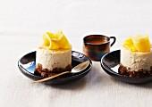 Mango cheesecake,passionfruit sauce
