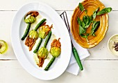 Pan-fried zucchini flowers with basil