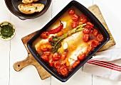 Weissfischfilets mit Kirschtomaten aus dem Ofen