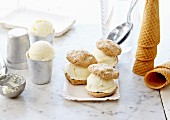 Profiterol-style macaroon and vanilla ice cream sandwich