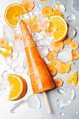 Orangen-Karotten-Eis am Stiel