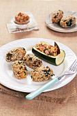 Stuffed zucchini wedges and mussel sesame seed balls