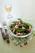 Rocket lettuce,pear,grape and feta salad