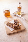 Apple peach,almond and agave syrup oatmeal bars