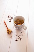 Chocolate-chip-cookie-style mugcake