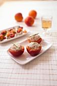 Apricots garnished with mackerel paté