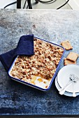 Exotic fruit Speculos ginger biscuit crumble