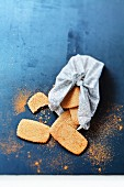 Speculos ginger biscuits in a cloth